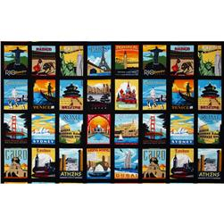 Dream Vacation Postcard Blocks Panel Bright