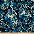 Bubble Crepe Floral Navy/Turquoise