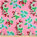 Oil Cloth Strawberries Pink