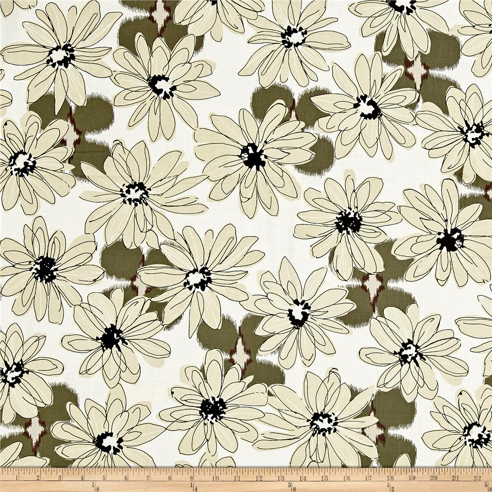 Shadows Paintbox Big Daisy Taupe Fabric