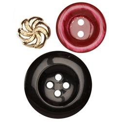 Fashion Buttons 5/8'', 7/8'', 1 1/4'' Coordinates Black/Burgundy/Gold