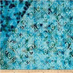 Double Face Quilted Indian Batik Large Ikat Teal