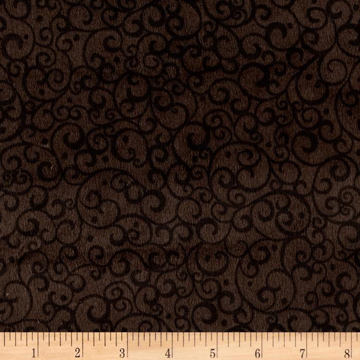 Timeless Treasures Minky Softie Scrolls Brown