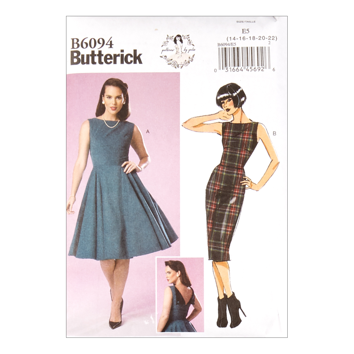 1950s Fabrics & Colors in Fashion Butterick B6094 Patterns by Gertie Misses Dress E5 Sizes 14-22 $11.97 AT vintagedancer.com