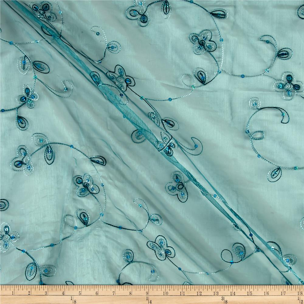 Dahlia organza embroidery teal discount designer fabric for Fabric purchase