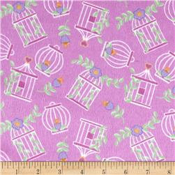 Birds Paradise Flannel Cages Pink Fabric