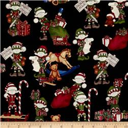 Holly Jolly Elves & Toys Black