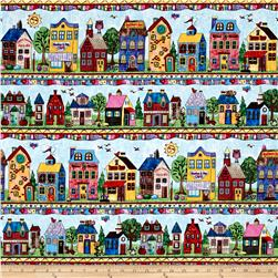 Timeless Treasures Home Sweet Home Neighborhood Stripe Multi