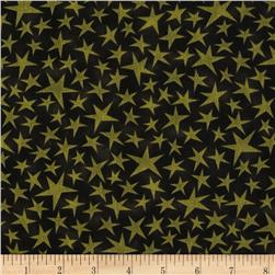 Black Cat Crossing Stars Green Black Fabric