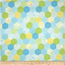 Animal ABCs Large Geometric Organic Cotton Light Blue