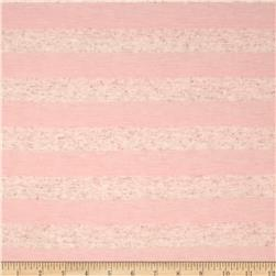 Yarn Dyed Jersey Knit Stripe Light Pink/Heather Ivory