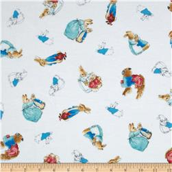 Cotton Tale Flannel Tossed Bunnies White