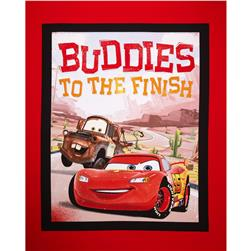 "Disney Car's Rule the Road Buddies to the Finish 36"" Panel Black"
