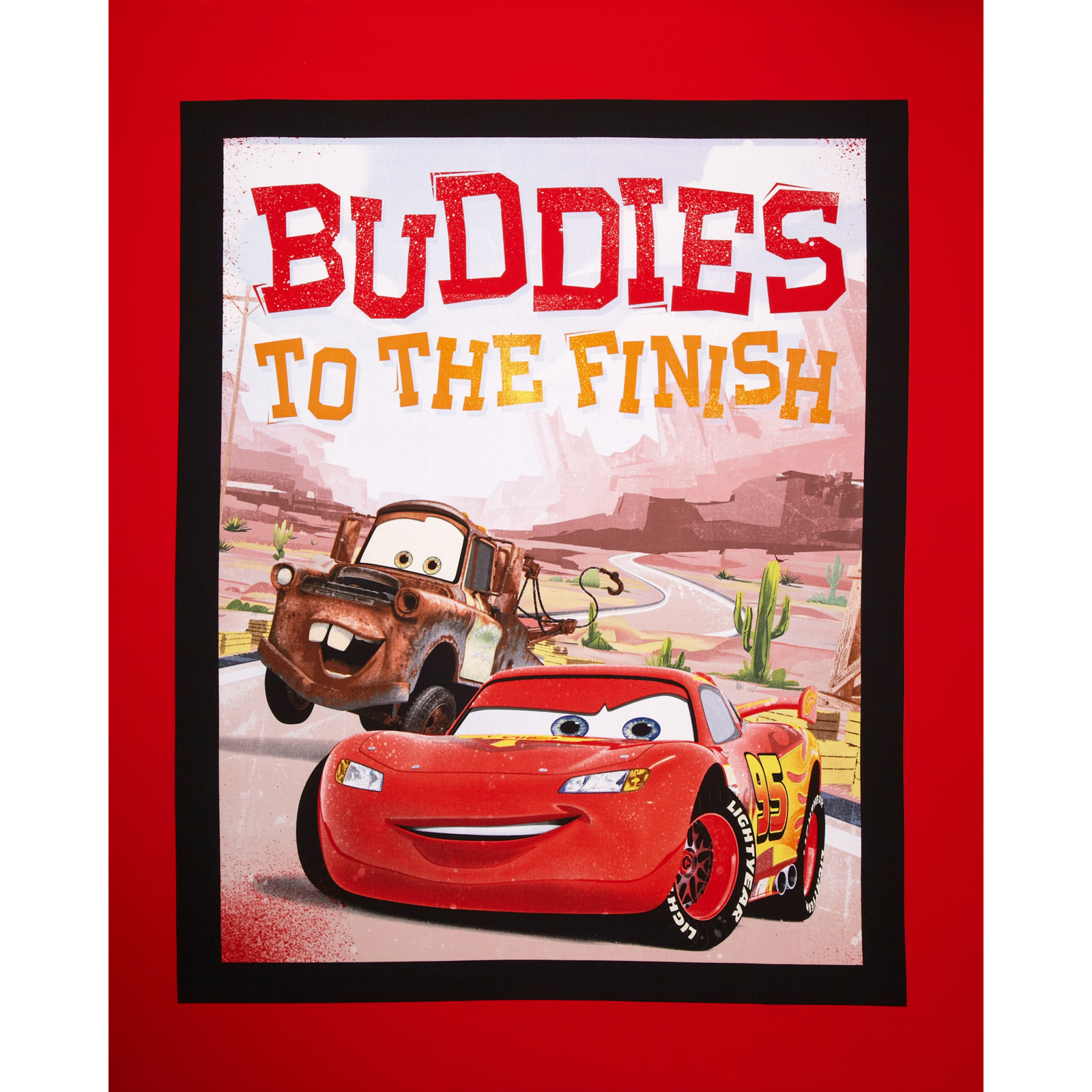 Disney Car's Rule the Road Buddies to the Finish 36'' Panel Black Fabric By The Yard by E. E. Schenck in USA