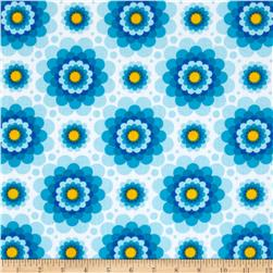 Flowerette Cotton Poly Broadcloth Turquoise