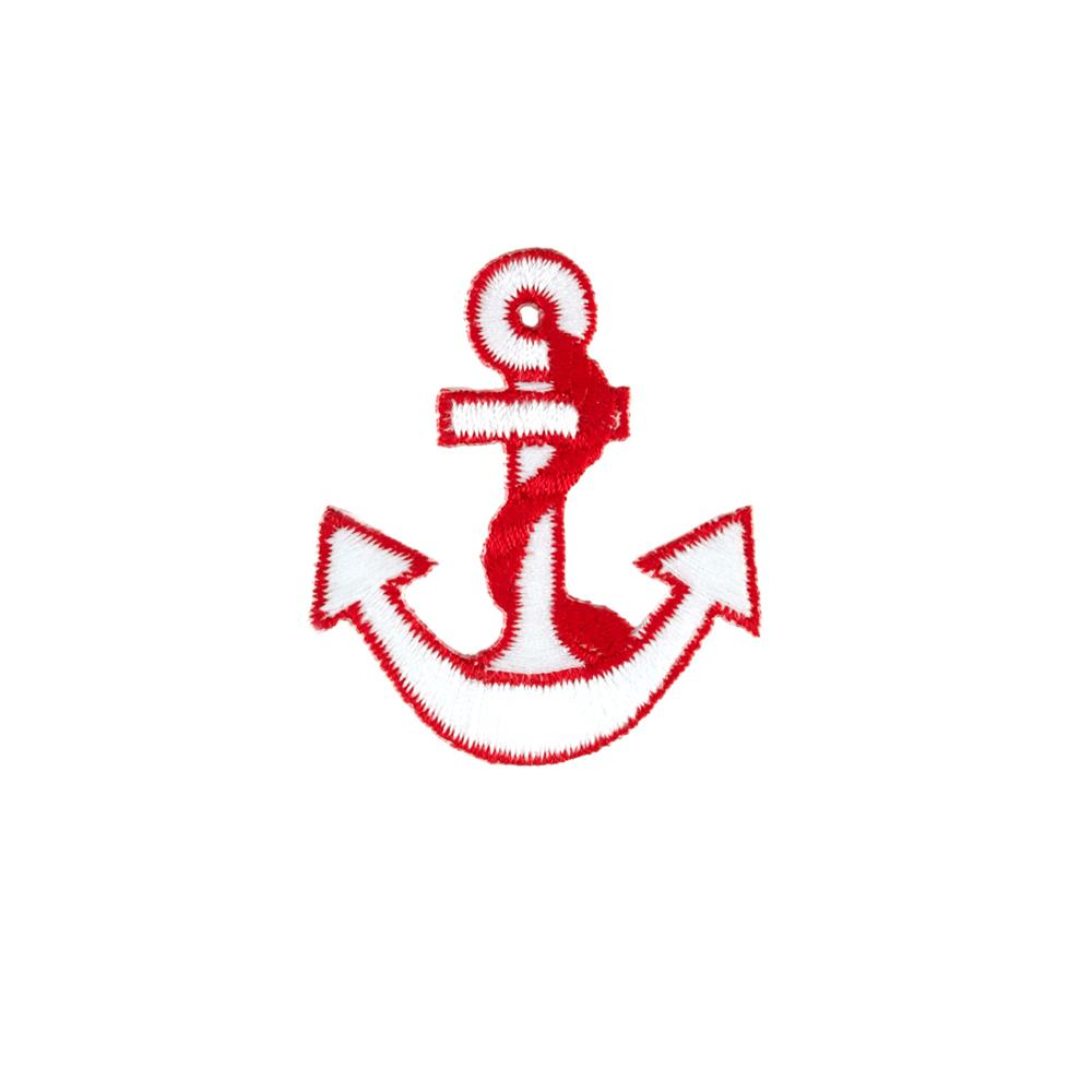 Anchor with Border Applique White/Red