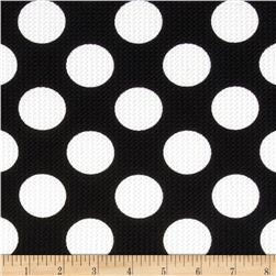 Paola Pique Knit Large Dots Black/Ivory Fabric