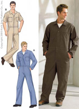 1940s Style Men's Pants and Trousers Kwik Sew Mens Coveralls Pattern $12.99 AT vintagedancer.com