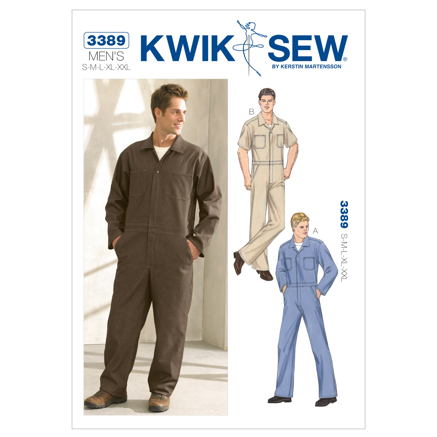 1940s Trousers, Mens Wide Leg Pants Kwik Sew Mens Coveralls Pattern $13.00 AT vintagedancer.com