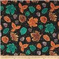 Quilting Treasures Autumn Spendor Metallic Leaves Black