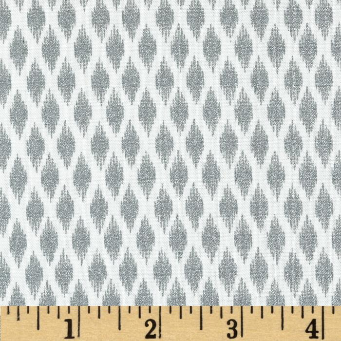 Pearle Silver Opalescent Ikat White