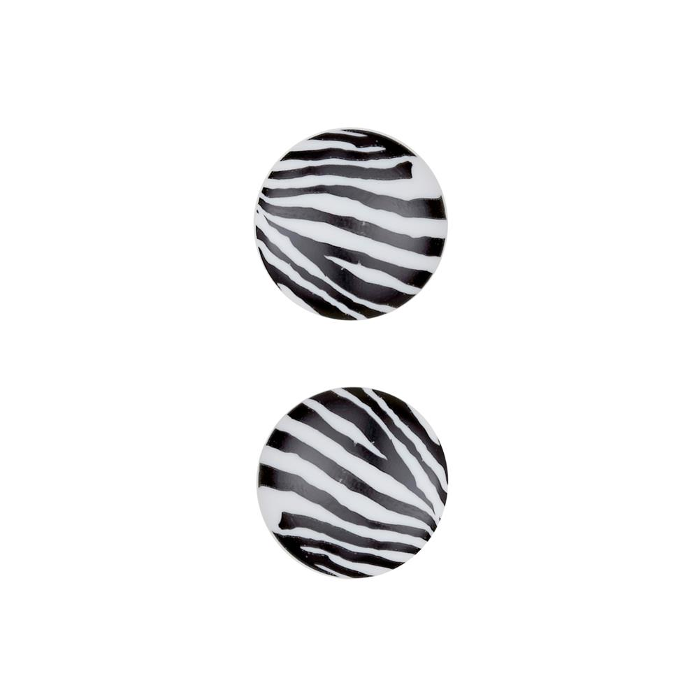 "Dill Novelty Button 13/16"" Polyamide Fashion Button Zebra White"
