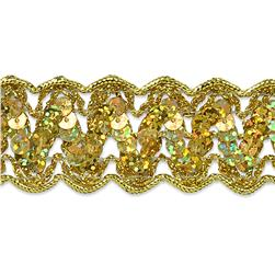 "1 1/4"" Nikki Sequin Metallic Braid Trim Roll Gold"