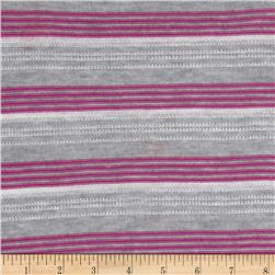 Sweater Knit Textured Stripes Grey/Magenta