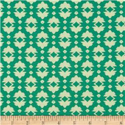 Tina Givens Riddles and Rhymes Foulard Green Fabric