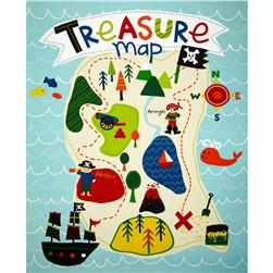 Riley Blake Treasure Map Panel Blue