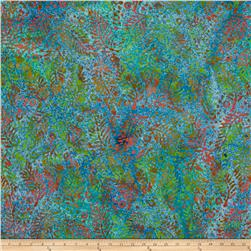 Indian Batik Fern Dots Teal/Lime/Coral
