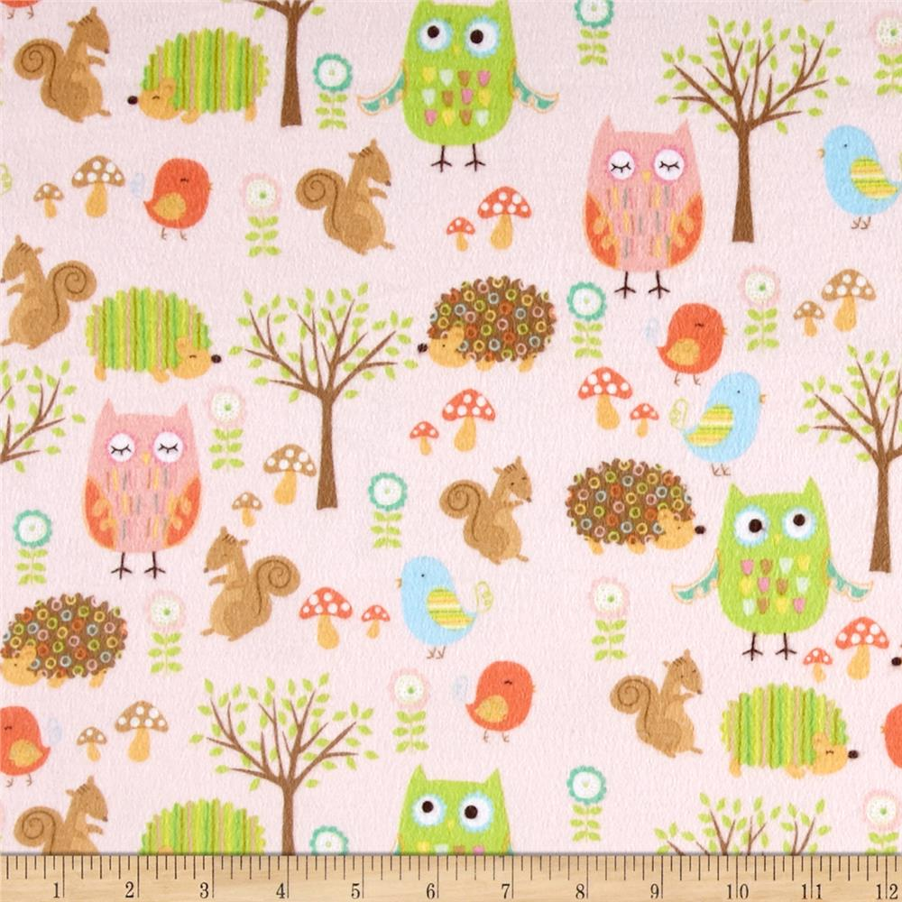 Riley Blake Owl & Co. Flannel Owl Friends Pink