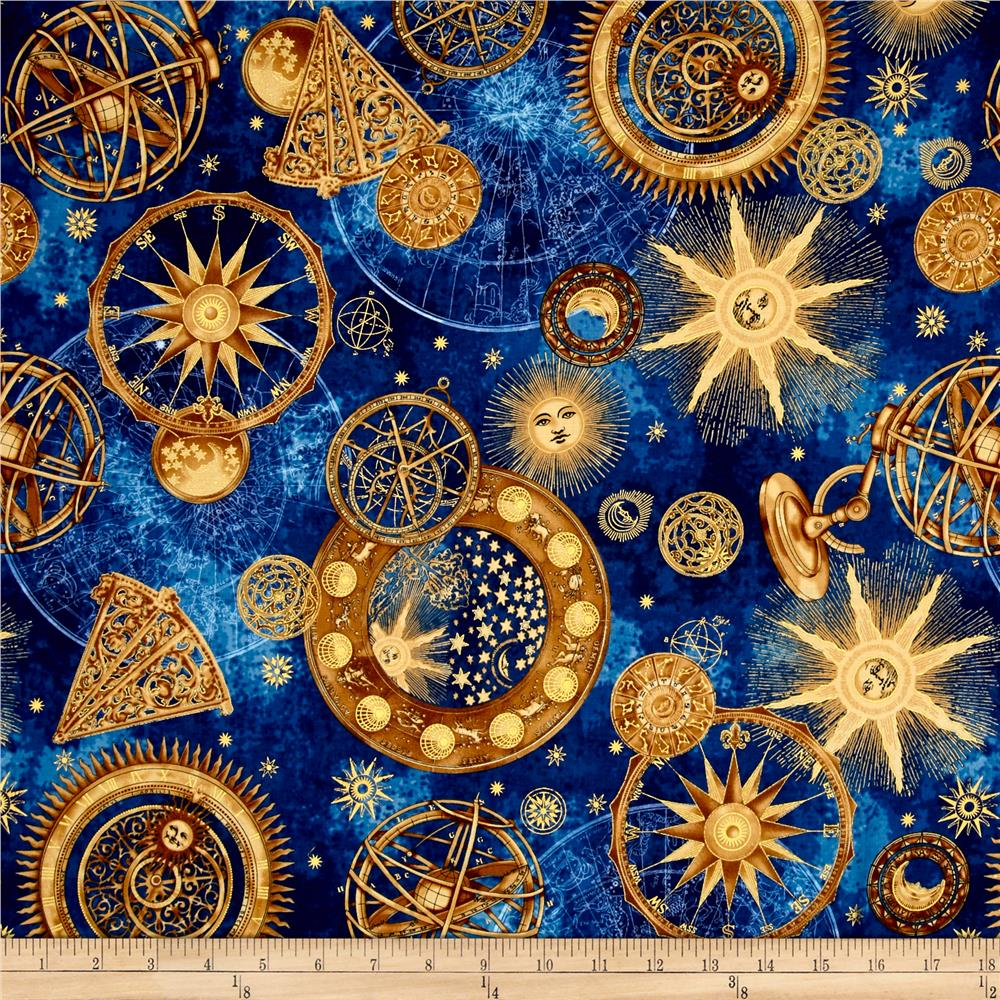 Star gazing metallic celestial navy gold discount for Celestial pattern fabric