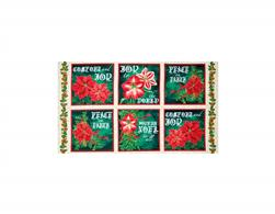 "Joy To The World Metallic Poinsettia 24"" Picture Patches Cream/Forest"