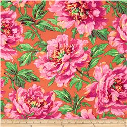 Kaffe Fassett Collective Volcano Tree Peony Orange Fabric