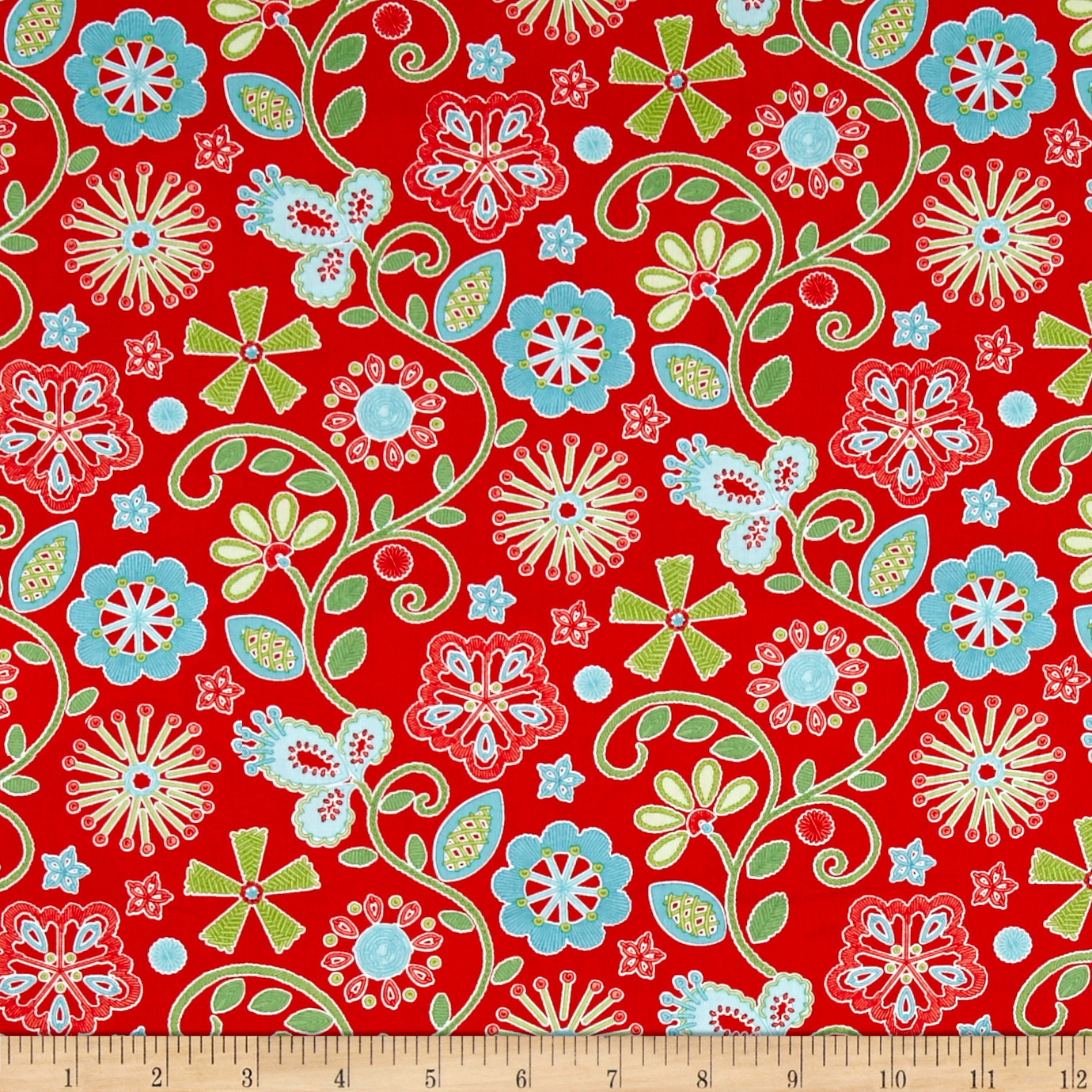 Sewing Room Embroidery Red Fabric