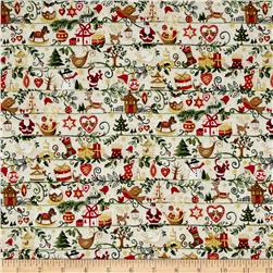 Metallic Christmas Christmas Icons Stripe Metallic Cream