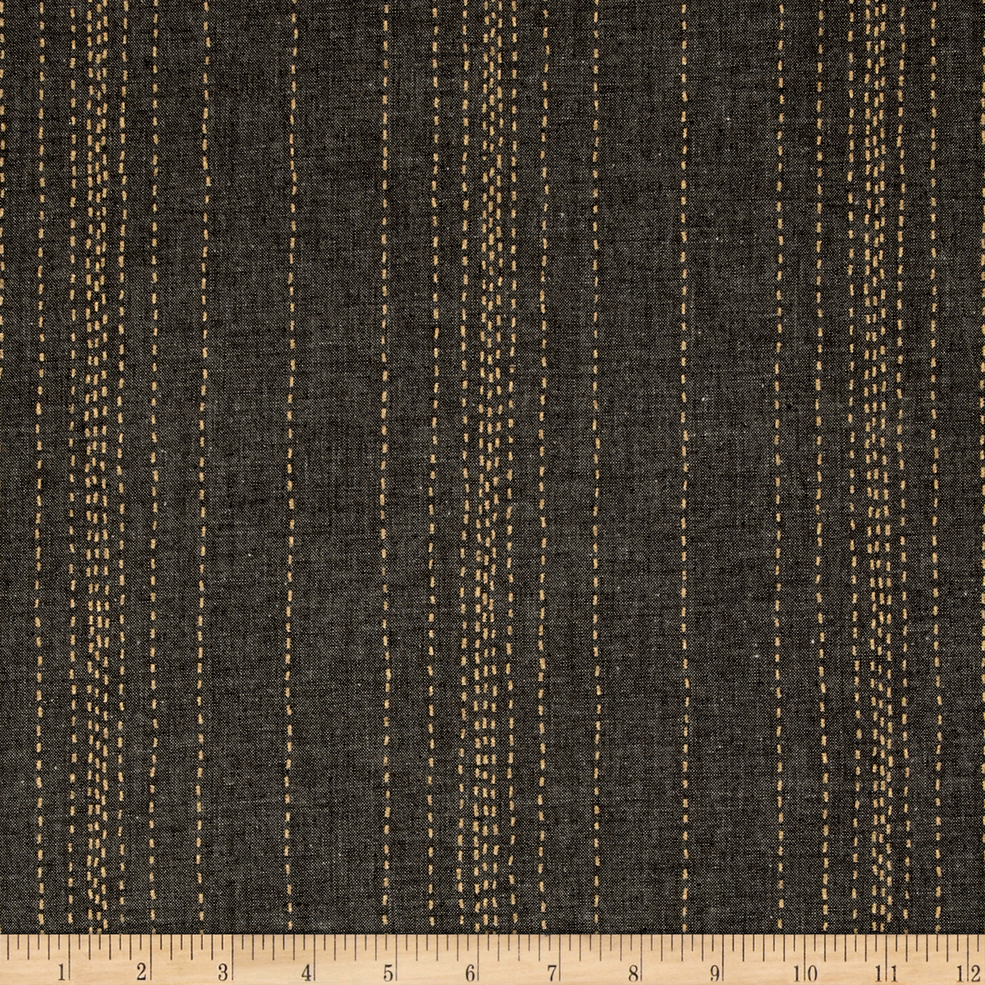 Andover Printed Chambray Stitch Lines Black/Gold Fabric by Andover & Makower in USA