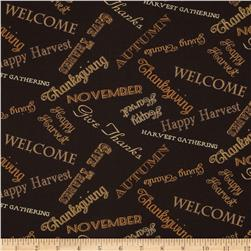 Harvest Time Tossed Words Dark Brown