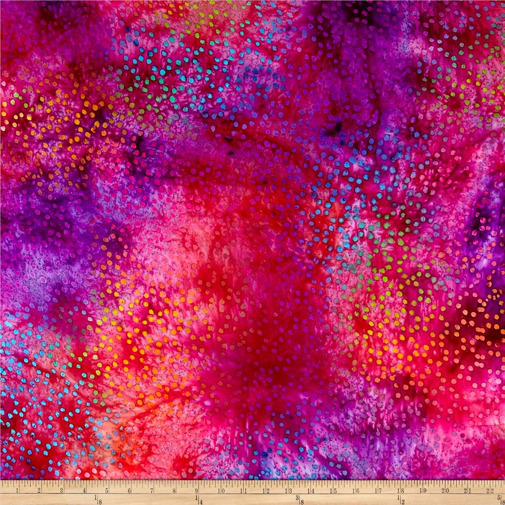 Rayon Challis Batik Dots Red/Purple/Multi Fabric