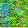 Indian Batiks Chevron Green/Yellow