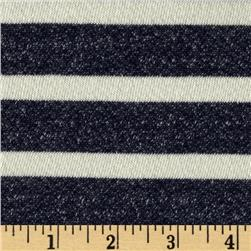 Designer French Terry Knit Stripes Navy