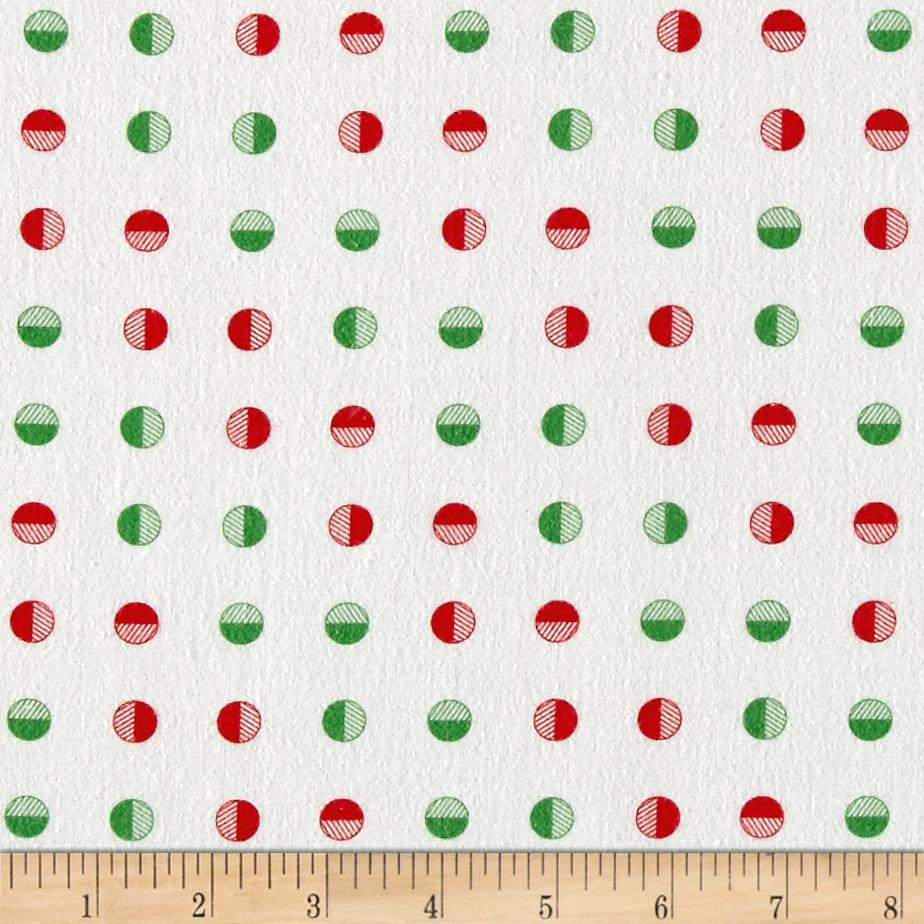 Moda Red Dot Green Dash Brushed Cottons Half Snowballs Multi Fabric