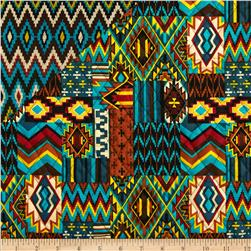Mesa Verde Double Sided Quilted Aztec Blue Fabric