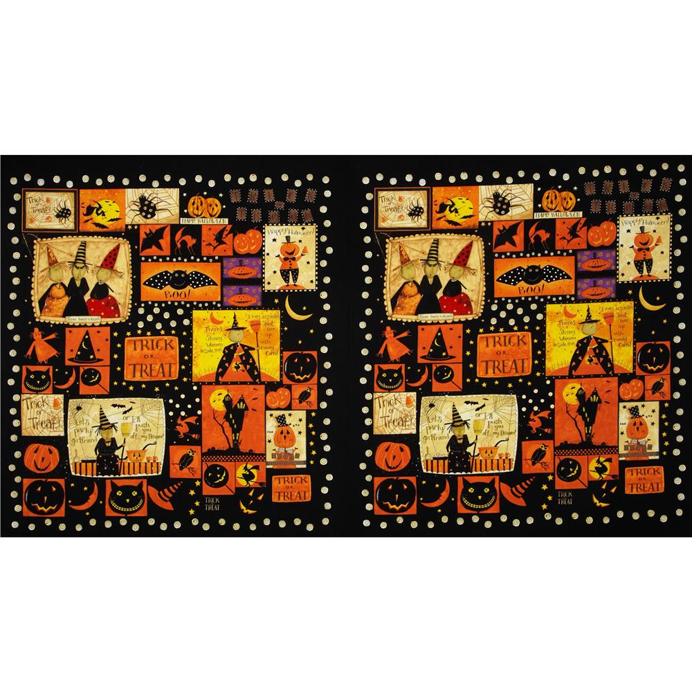 "Witchful Thinking Trick or Treat 24"" Panel Black"