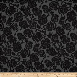 Embossed Ponte de Roma Floral Charcoal/Black Fabric