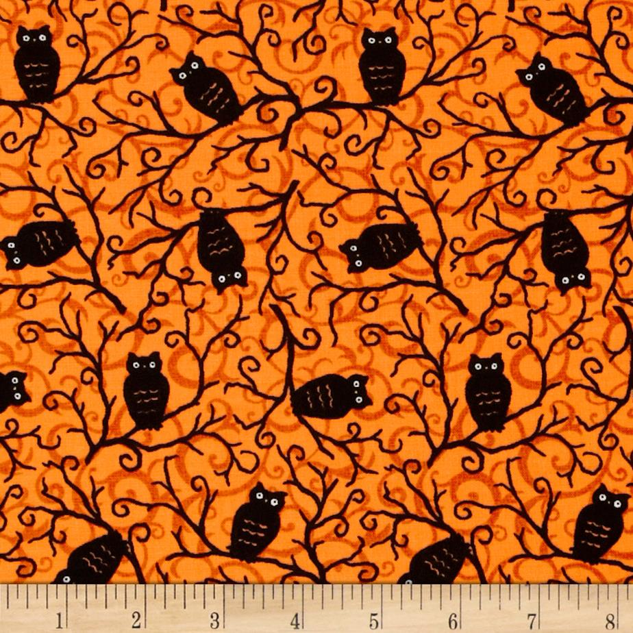 Moda Moonlight Manor Spooky Owls Pumpkin Orange