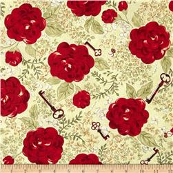 My Secret Garden Flower Blossoms Green Fabric