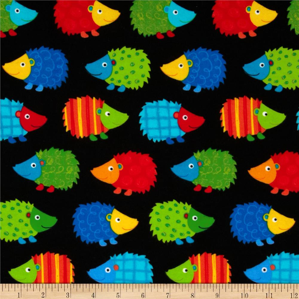 Timeless Treasures Flannel Hedgehogs Black