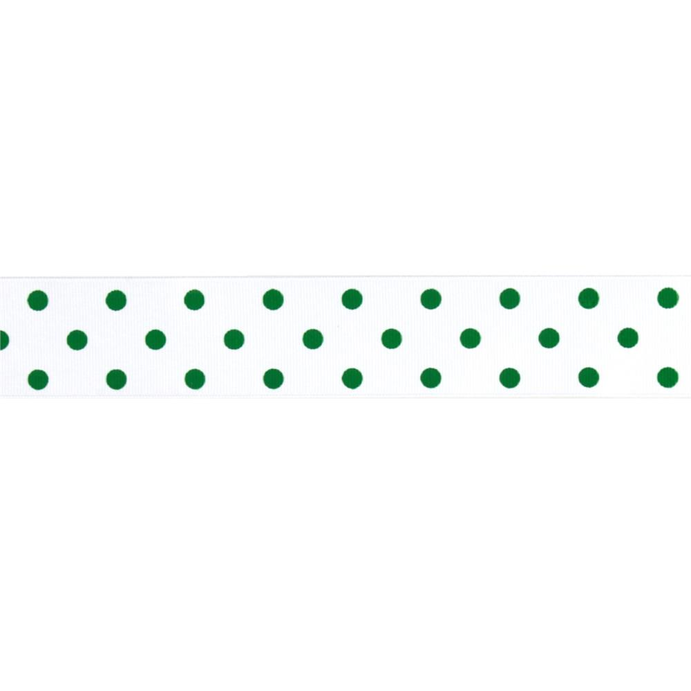 "1 1/2"" Grosgrain Rev Dot Ribbon Emerald"